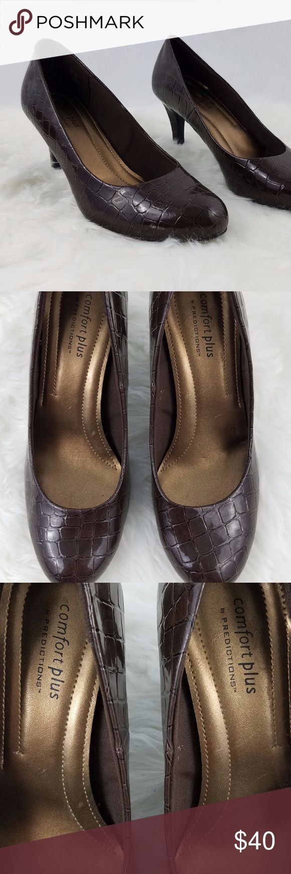 "Comfort Plus Predictions Womens Vegan  Brown Pumps Size 7.5  Gently Worn - Please see photos. Heel height - 3"" Insole measures 9.5"" Ball of shoe width 3"" Smoke-free home Item #77 Comfort Plus Predictions Shoes Heels"