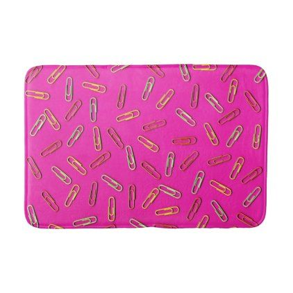 CUTE Paper Clip Pattern on Pink Bath Mat - girly gift gifts ideas cyo diy special unique