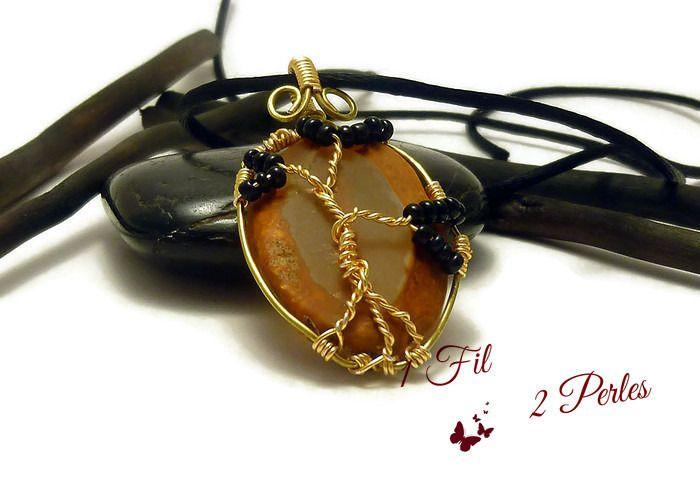 Collier Pendentif Arbre de Vie Agate Naturelle - Pendentif Wire Wrapping Laiton Perles Noires : Pendentif par 1-fil-2-perles