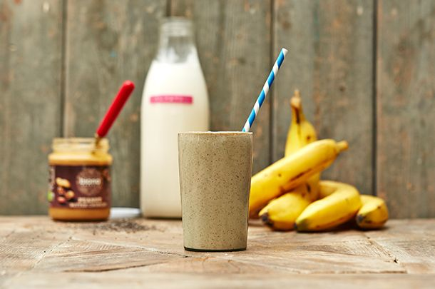 Homemade Protein Shake without whey protein - for morning workouts - no protein powder.  1 banana 1 tbsp peanut butter 1 tbsp chia seeds 1/2 tsp cinnamon 1 cup almond milk