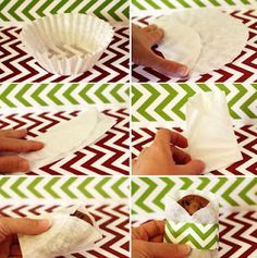 Coffee filter wrapped around cookie & add some cute paper.