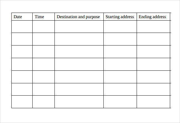 Mileage Log Template For Self Employed Great Mileage Log Template