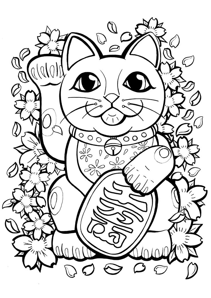Maneki Neko with flowers and leaves - Japan Coloring Pages ...