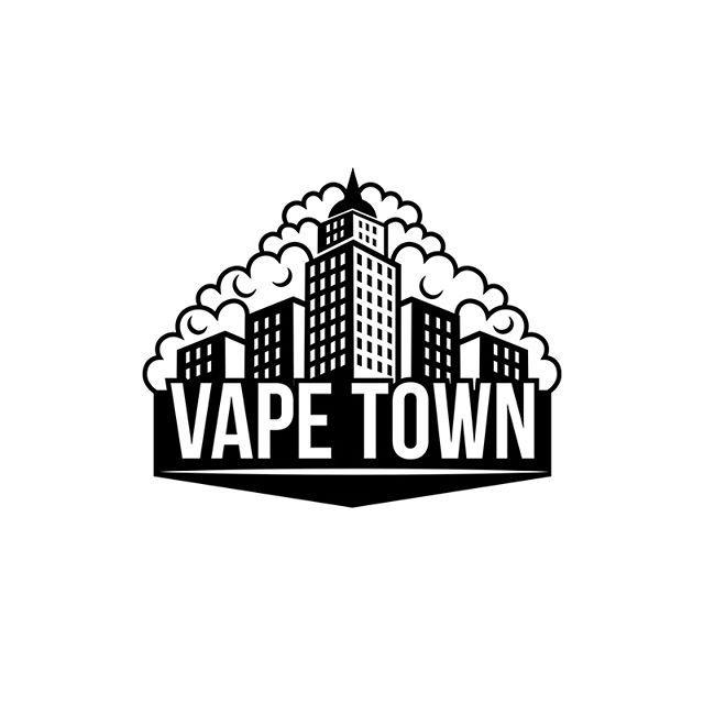 Logo for Vape Town (Vapeshop) #vape #vapers #vaping #eliquid #vapeshop #vapeshops #logo #city #design #art #blackandwhite #black #cloud #brand #shop #ejuice