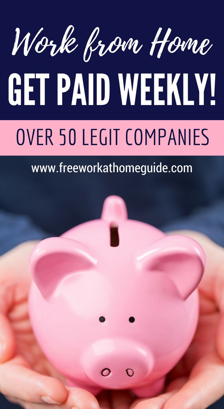 Over 50 Companies That Offer Weekly Paying Home Based Jobs - www.freeworkathomeguide.com