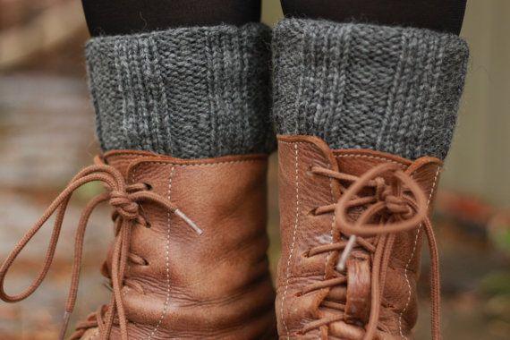 Grey boot cuffs  handknit boot cuffs  ribbed by SoppyKnitsStuff