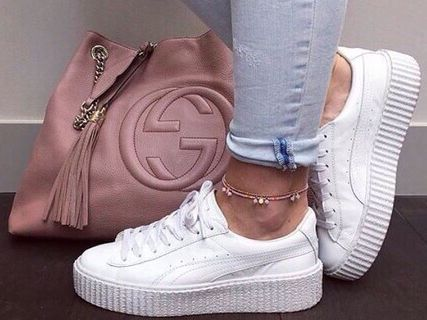 GUCCI BAG AND PUMA CREEPERS
