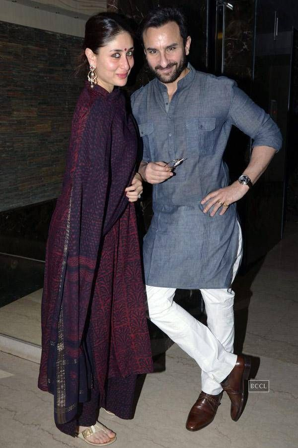 Kareena Kapoor and Saif Ali Khan during Soha Ali Khan's mehendi ceremony.