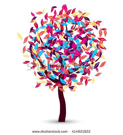This image is a vector file representing a colorful tree vector design./Colorful Tree Vector Design/Colorful Tree Vector Design