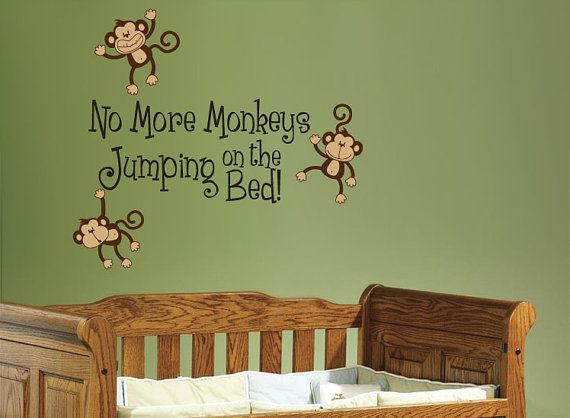 no more monkeys jumping on the bed wall decal children 39 s. Black Bedroom Furniture Sets. Home Design Ideas