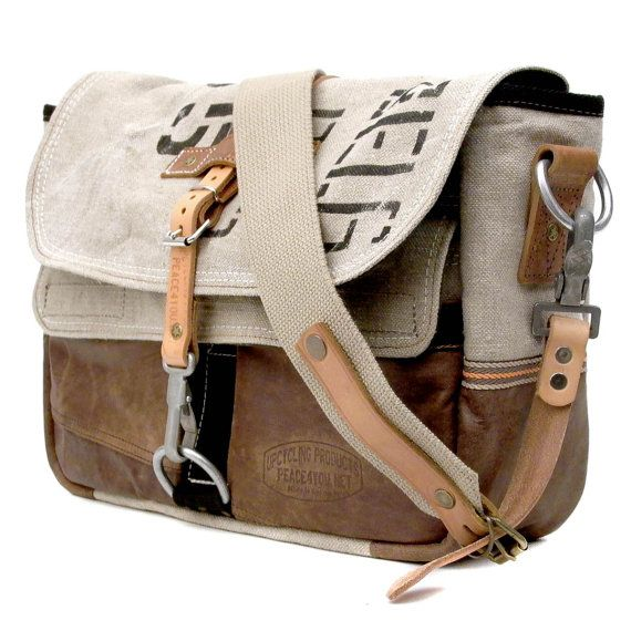 Canvas Messenger Bag // Upcycled and Handmade