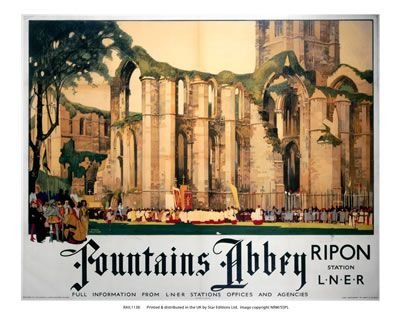 """""""Fountains abbey, Ripon"""" on VintageRailPosters.co.uk Prints"""