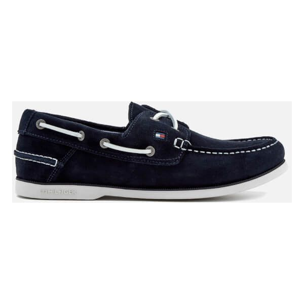 Tommy Hilfiger Men's Classic Suede Boat Shoes ($115) ❤ liked on Polyvore featuring men's fashion, men's shoes, men's loafers, blue, mens shoes, mens suede boat shoes, mens sperry topsiders, mens blue shoes and mens topsiders