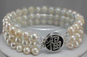 Ручной работы 3 рядов 7 - 8 мм белый   розовые  жемчужина застежка браслет 14 К гп серебряные украшения оптовая продажа 2 шт. 1 пара унисекс браслеты