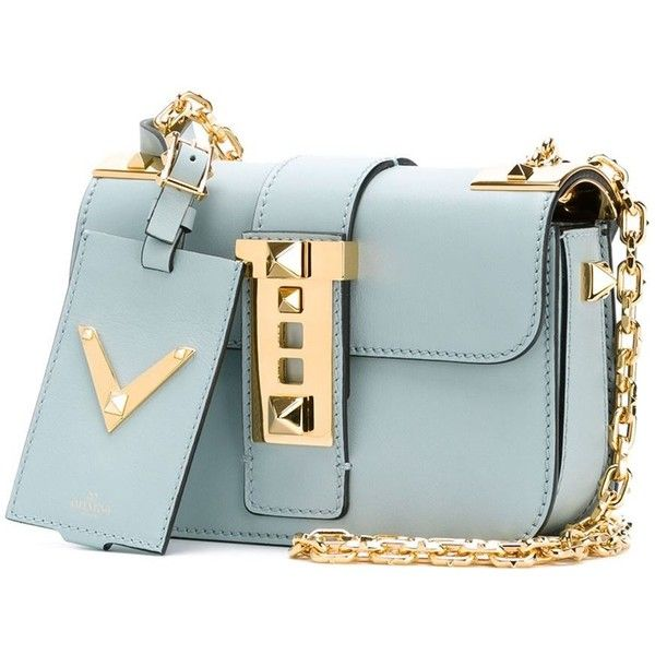 Valentino Garavani small 'B-Rockstud' crossbody bag ($2,530) ❤ liked on Polyvore featuring bags, handbags, shoulder bags, blue shoulder bag, crossbody purse, leather crossbody purse, blue leather handbag and leather handbags