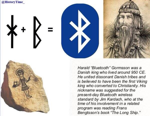 Blåtand's name when translated in english stands for Harald Bluetooth. The bluetooth technology was named in honor of this King of the Danes. Now if you observe the runic letters more closely as shown in the figures and take the H and B and fuse them, it gives us the Bluetooth Symbol. Bluetooth is named after the Viking warrior king Harald Bluetooth.
