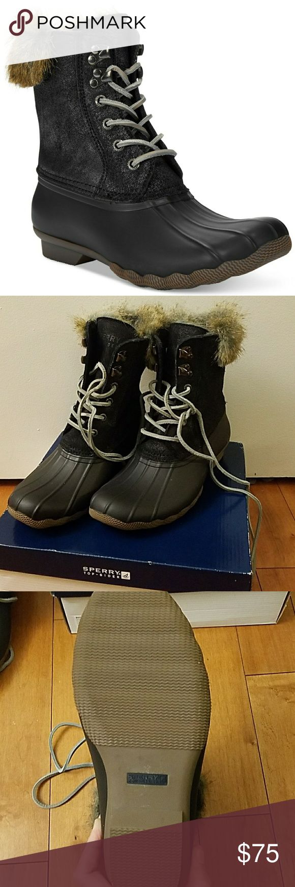 NWT Sperry White Water Black Duck Boots NWT Sperry Top Sider White Water Black Duck Boots.   Size 6.5. Sperry Shoes Winter & Rain Boots