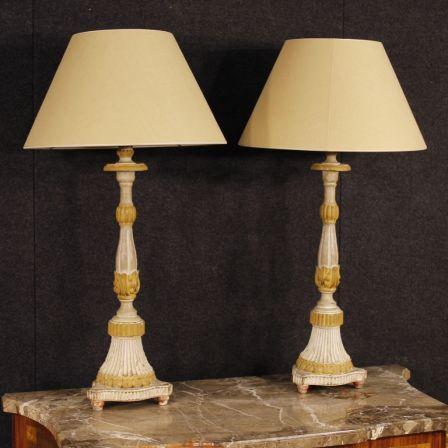1800€Antique pair of French lacquered lamps from 19th century. Visit our website www.parino.it #antiques #antiquariato #furniture #lighting #lamps #antiquities #antiquario #lamp #decorative #interiordesign #homedecoration #antiqueshop #antiquestore #lacquered #wood