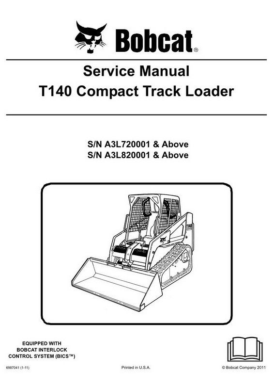 bobcat t140 compact track loader service manual 6987041 1 11 rh pinterest com Instruction Manual User Manual Template