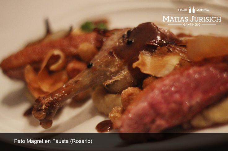 Pato Magret en su punto justo, cuis confit, batatas brulees y salsa de cassis en Fausta (Puerto Norte Desing Hotel, Rosario, Argentina