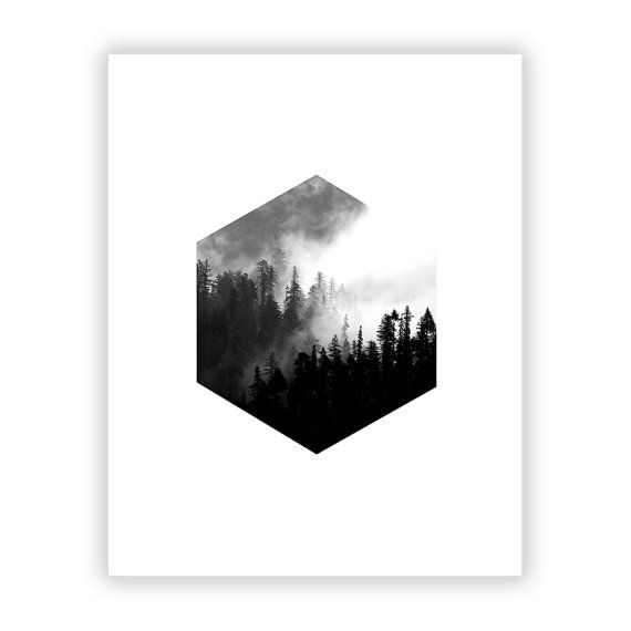 Minimalist Graphic Art Print Hexagon Forest Scandinavian Wall Art Black and…