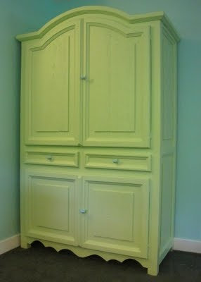 Pretty green armoire.  Great redo of the outdated tv hutches.