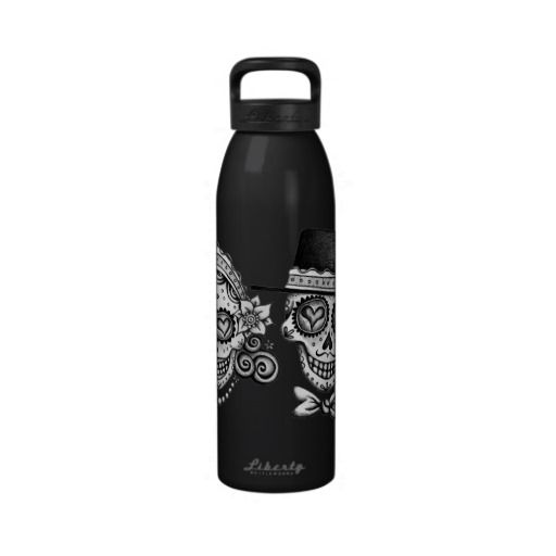 Los Novios Sugar Skull Couple Water Bottle