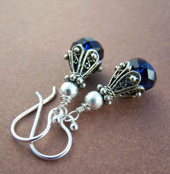 Crystal Earrings - Swarovski and Sterling Silver via Etsy