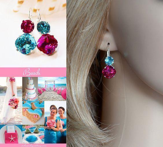 Handmade Swarovski Fuchsia & Light Turquoise Crystal Earrings (Sparkle-2632-FT) #Handmade #DropDangle
