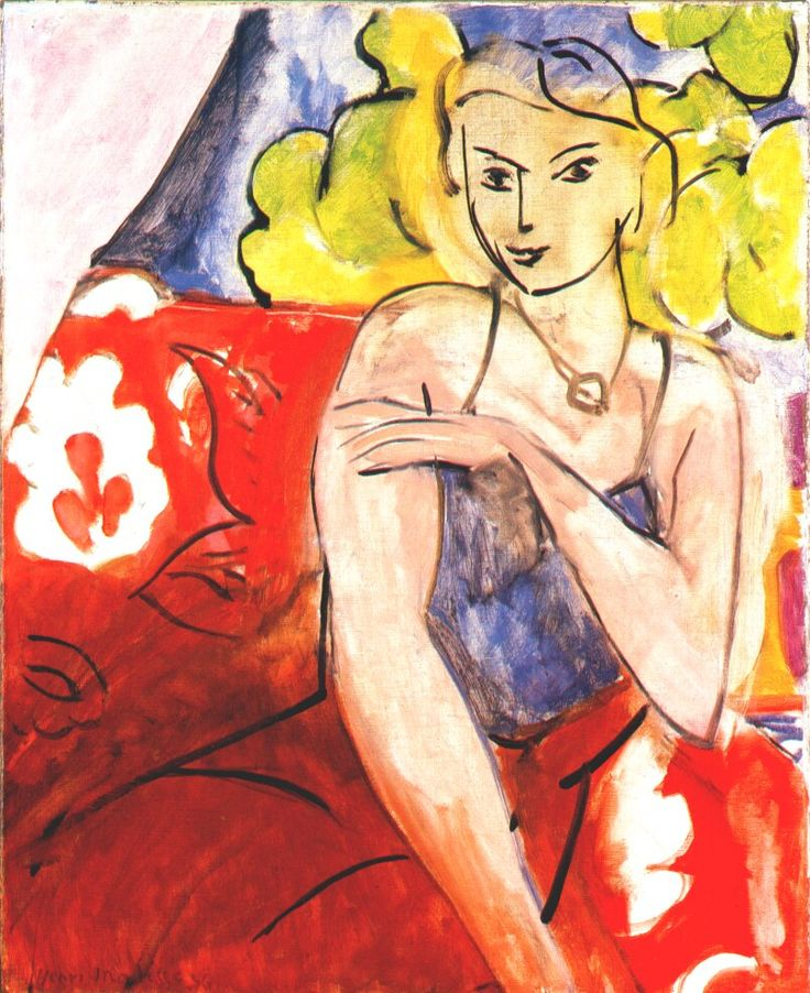 Woman in Corselet ('Tahiti' in Background) by Henri Matisse, 1936