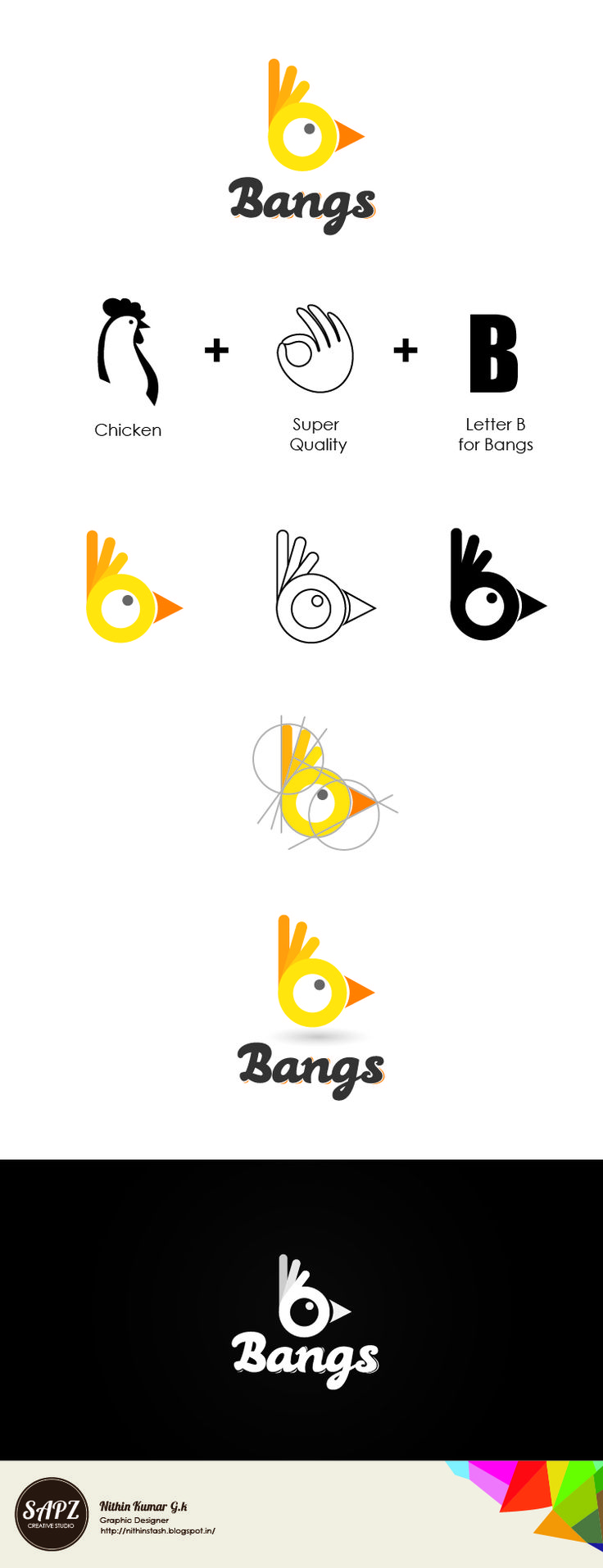 Bangs Fried Chicken Logo tryout Design                                                                                                                                                                                 More