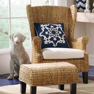 Our exclusive Santino Wing Chair is an unconventional update to the classic high-back wing chair. Naturally durable seagrass and rattan are hand-woven in a beautiful herringbone pattern that covers the seat, arms, and the back of the wingback.