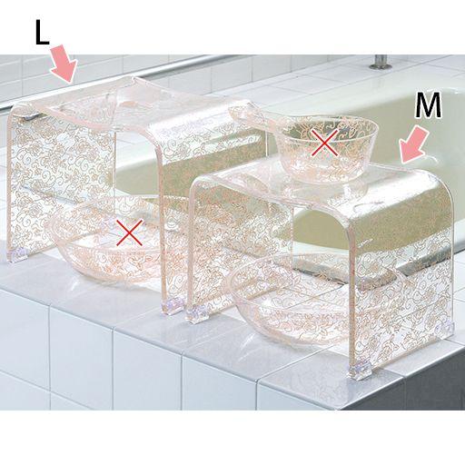 アクリル製バスチェア・洗面器シリーズ(ローズ) ピンク ※手桶と洗面器大(左側)は販売しておりません。