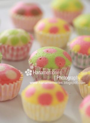 polka dot cupcakes - original batter & pipe in 2nd color tinted batter
