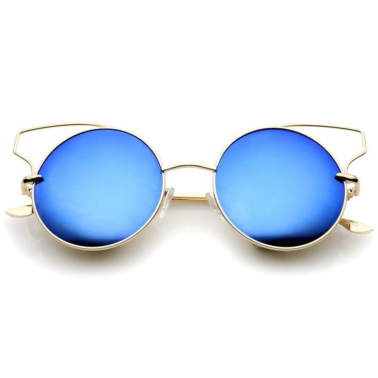 Women's Full Metal Open Design Mirrored Lens Round Cat Eye Sunglasses 55mm