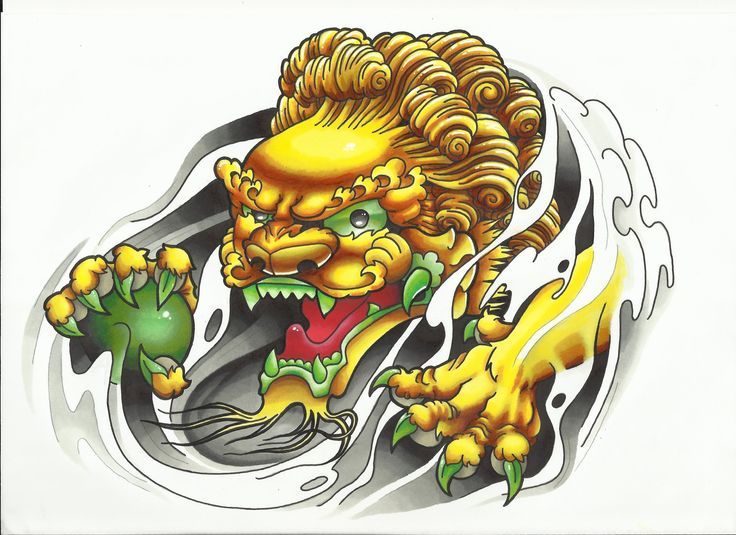 Foo Dog tattoo design colour first draft