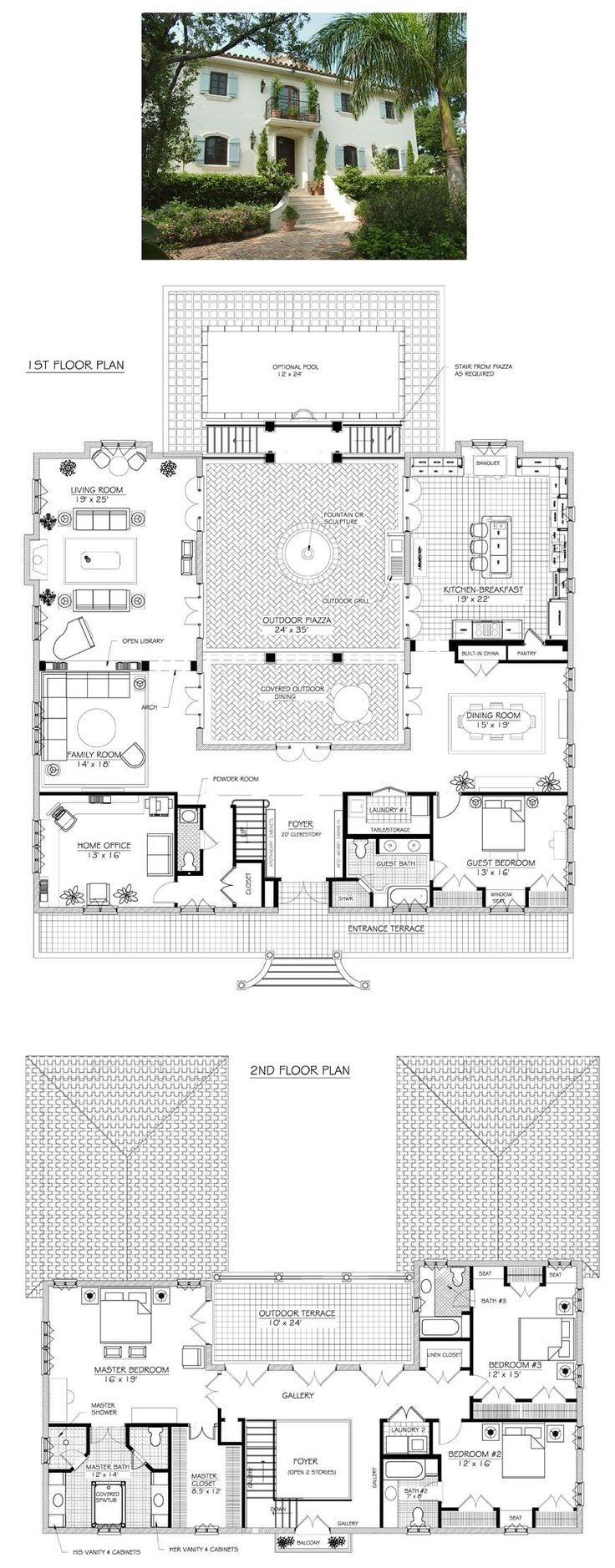 Gorgeous French villa plan - I fell in love with this plan. It's my new dream house, even though it's huge. I have a board that shows what I would do with it. https://www.pinterest.com/imtoomisty/la-vie-de-la-villa/ The plan with my changes is pinned there as well.  Unfortunately the company has changed their website, and this plan is no longer available. 5616sf (including terrace and courtyard)