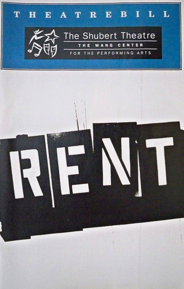 """Theatre Programme from the Premiere Boston Production of the Jonathan Larson musical """"Rent,"""" which performed from November 5, 1996 thru May 25, 1997 at the Shubert Theatre - Boch Centre."""