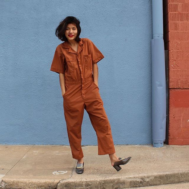 WEBSTA @ passportvintage - SOLD. She's backkk and so are @divevintage coveralls! This coffee bean coverall was JUST added to the Etsy shop! Direct link in bio.
