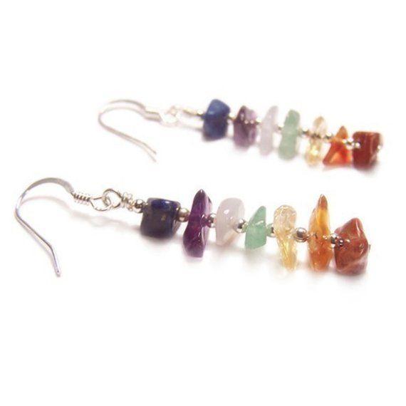 Sterling silver Chakra earrings gemstone chips by LunarraStar