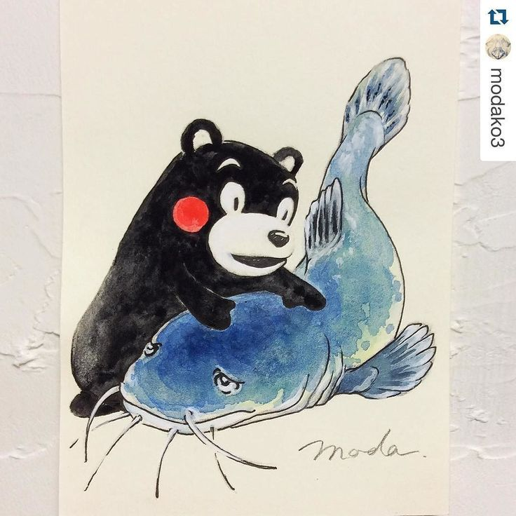 By @modako3  The black bear with red cheek is called 'Kumamon' who is the beloved local mascot for publicity of Kumamoto where a large scale of earthquake struck about two weeks ago and is still occurring continuously. Also in Japan catfish had widely been believed the cause of earthquake for a long time. The illustration above shows Kumamon is trying to make the catfish calm down to stop the quake for the people who are suffering.  #prayforkumamoto #prayforkyushu #prayforjapan #earthquake…