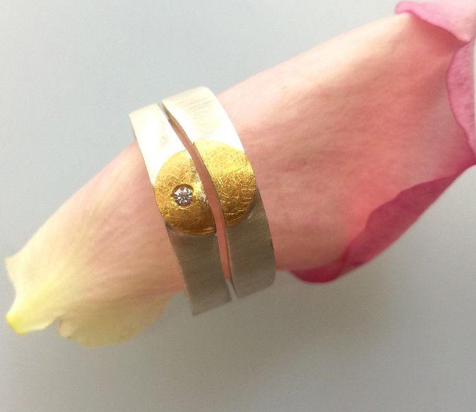 Eheringe - Silberring Gold Brillant Doppelring Partnerring - ein Designerstück von Anja-und-Denise bei DaWanda