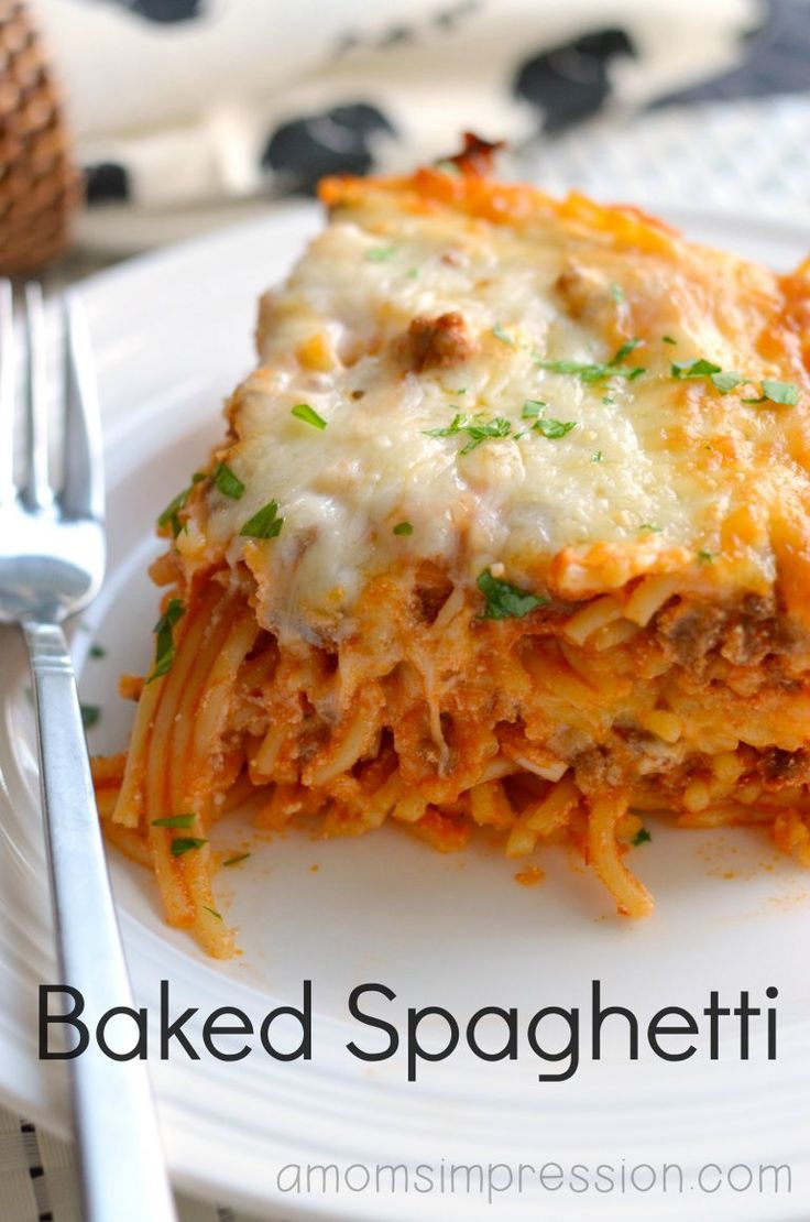 Stop what you're doing and make this baked spaghetti recipe for dinner tonight! It is easy to make and a family favorite - this is a pasta recipe to save! #ad