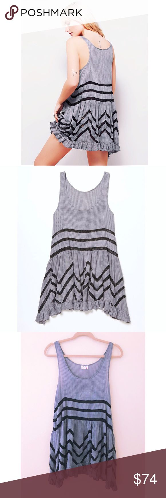 FREE PEOPLE Voile Slip Perfect condition. grey polka dot trapeze dress with black lace. Free People Dresses Mini