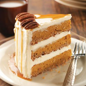 Pumpkin-Pecan Spice Cake Recipe- Recipes I'm a wife and mother of eight children. I like baking more than cooking, so I enjoy dressing up a spice cake mix with nuts, canned pumpkin and a homemade cream cheese frosting to create this fabulous dessert. —Joyce Platfoot, Wapakoneta, Ohio