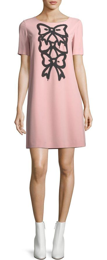 Bow-Print Shift Dress by BOUTIQUE MOSCHINO. Boutique Moschino cady dress with three bow print. Crew neckline. Short sleeves. Shift silhouette. Straight hem. Back zip. Polyester/spandex. Imported. #boutiquemoschino #dresses