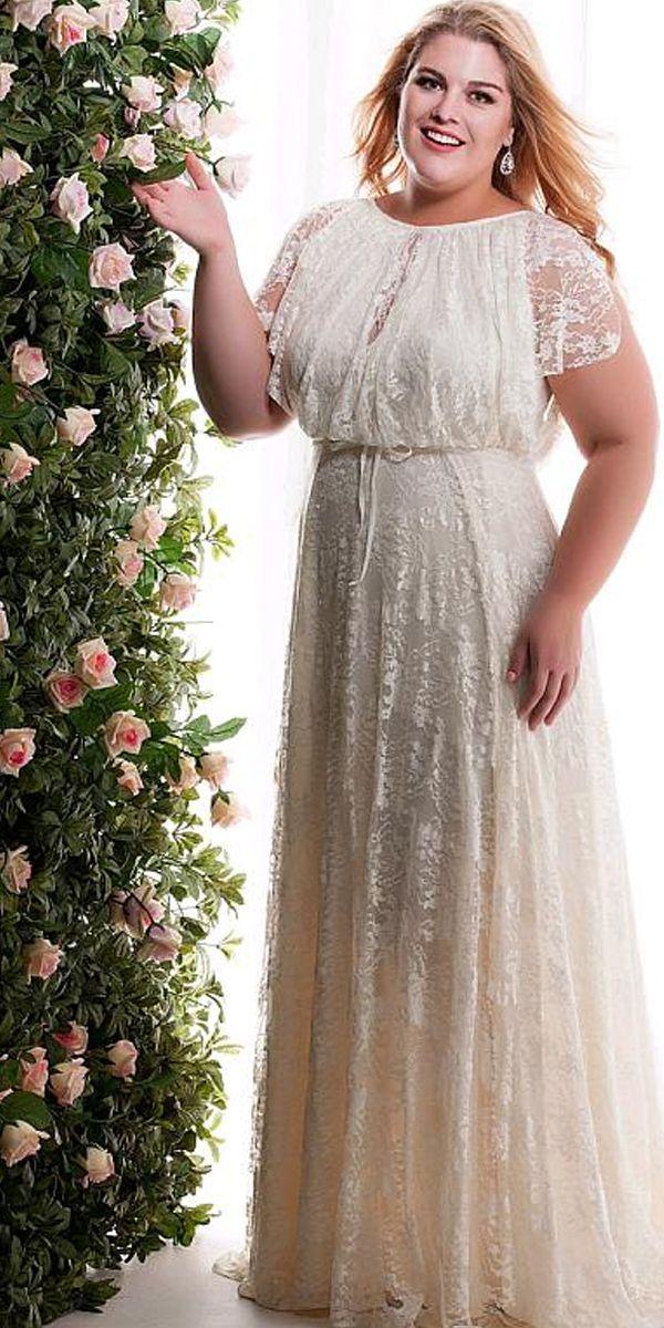 [165.59]  Wonderful lace jewel neckline plus size A-line wedding gowns with belt