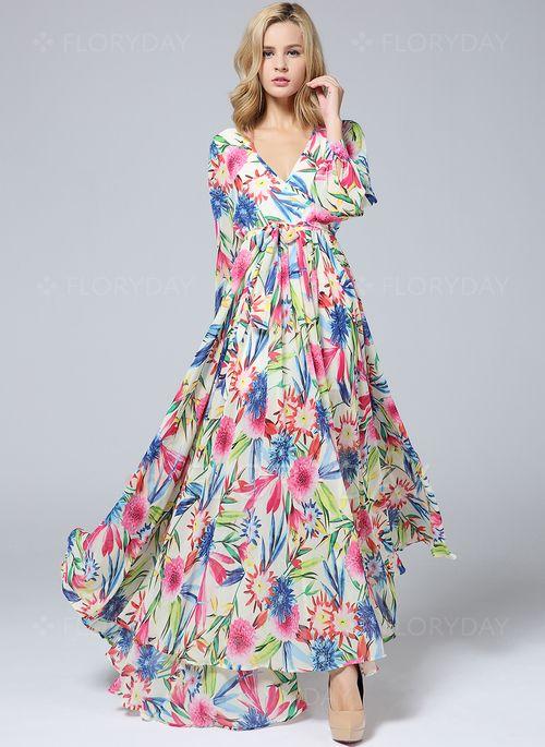 Vestidos - $39.26 - Vestidos Chifón Floral Hasta los tobillos Manga larga (1955108929)