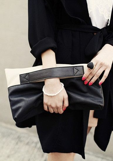 Black Contrast Folded Clutch