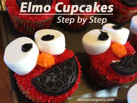 Elmo Cupcakes – Step by Step | WeUseCoupons.comKids Parties, Cupcakes Ideas, Cupcakes Decor For Kids, Food, Kids Birthday Parties, Elmo Birthday, Cupcakes Etc, Elmo Cupcakes, Cupcakes Rosa-Choqu